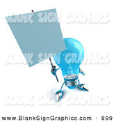 Vector Illustration of a Shiny Blue Glass Light Bulb Character Holding a Blank Sign on a Post - Version 1 by Julos