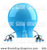 Vector Illustration of a Shiny Blue Glass Light Bulb Character Holding up a Blank Sign by Julos