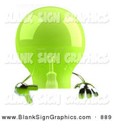Vector Illustration of a Shiny Green Glass Light Bulb Character Giving the Peace Gesture and Holding a Blank Sign by Julos