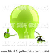 Vector Illustration of a Shiny Green Glass Light Bulb Character Giving the Thumbs up and Holding a Blank Sign by Julos
