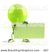Vector Illustration of a Shiny Green Glass Light Bulb Character Holding up a Blank Business Card or Sign - Version 1 by Julos