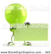 Vector Illustration of a Shiny Green Glass Light Bulb Character Holding up a Blank Business Card or Sign - Version 2 by Julos