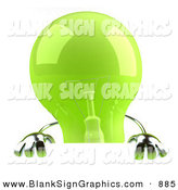 Vector Illustration of a Shiny Green Glass Light Bulb Character Holding up a Blank Sign by Julos