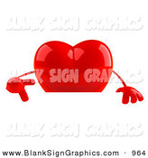 Vector Illustration of a Shiny Romantic 3d Red Heart Character Pointing down at and Standing Behind a Blank Sign by Julos