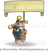 Vector Illustration of a Shy Jester Holding a Blank Sign by Leo Blanchette