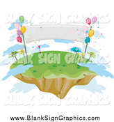 Vector Illustration of a Sky Island with Balloons, a Banner and Clouds by BNP Design Studio