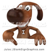 Vector Illustration of a Smiling 3d Brown Dog Character Pointing down at and Standing Behind a Blank Sign by Julos