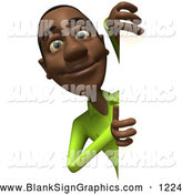 Vector Illustration of a Smiling 3d Casual Black Man Character Looking Around a Blank Sign by Julos