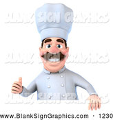 Vector Illustration of a Smiling 3d Chef George Character Giving the Thumbs up and Standing Behind a Blank Sign by Julos