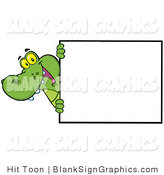 Vector Illustration of a Smiling Alligator Looking Around a Blank Sign by Hit Toon