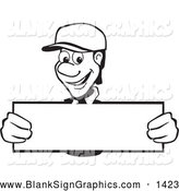 Vector Illustration of a Smiling Friendly Black and White Man Holding up a Long Blank Sign by David Rey