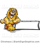 Vector Illustration of a Smiling Lion Leaning Against a Blank Sign by Chromaco