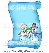 Vector Illustration of a Snowman Family on a Frozen Parchment Scroll Page by Visekart