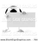 Vector Illustration of a Soccer Ball Character with Arms and Legs, Holding a Blank Sign by Julos