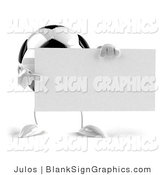 Vector Illustration of a Soccer Ball with Arms and Legs, Holding a Blank White Sign by Julos