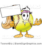 Vector Illustration of a Softball Holding a Blank Sign and Waving by Toons4Biz