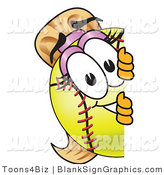 Vector Illustration of a Softball Looking Around a Blank Sign by Toons4Biz