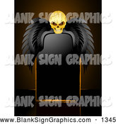 September 25th, 2013: Vector Illustration of a Spooky Creepy Skull with Black Wings, Resting over a Blank Black Sign by Elaineitalia