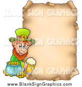 Vector Illustration of a St Patricks Day Parchment Page with a Leprechaun by Visekart
