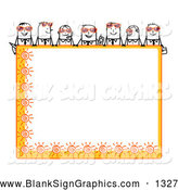 Vector Illustration of a Stick Figure People Characters Looking over a Blank Orange Summer Sign by NL Shop
