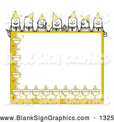 Vector Illustration of a Stick Figure People Characters Looking over a Blank Yellow Party Sign by NL Shop