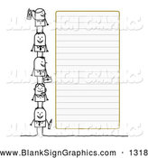 Vector Illustration of a Stick Figure People Characters Standing Beside Blank Lined Paper by NL Shop