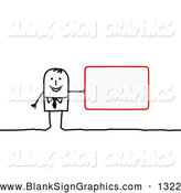 Vector Illustration of a Stick People Character Office Employee Holding a Blank Red Sign by NL Shop