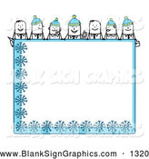 Vector Illustration of a Stick People Characters Bordering and Looking over a Blank Blue Winter Sign by NL Shop