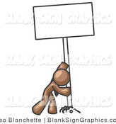 Vector Illustration of a Strong Brown Guy Pushing up a Blank Sign by Leo Blanchette