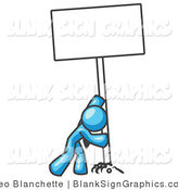 Vector Illustration of a Strong Light Blue Man Pushing up Blank Sign by Leo Blanchette