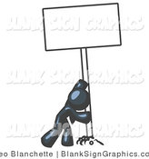 Vector Illustration of a Strong Navy Blue Guy Pushing up a Blank Sign by Leo Blanchette