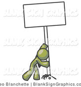 Vector Illustration of a Strong Olive Green Guy Pushing up a Blank Sign by Leo Blanchette