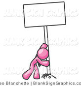 Vector Illustration of a Strong Pink Guy Pushing up a Blank Sign by Leo Blanchette