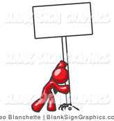 Vector Illustration of a Strong Red Guy Pushing up a Blank Sign by Leo Blanchette
