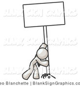 Vector Illustration of a Strong White Guy Pushing up a Blank Sign by Leo Blanchette