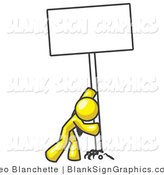 Vector Illustration of a Strong Yellow Guy Pushing up a Blank Sign by Leo Blanchette