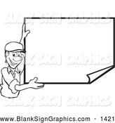 Vector Illustration of a Stylish Black and White Man Smiling and Displaying a Blank Publicity Poster by David Rey