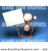 Vector Illustration of a Surprised Monkey Character Holding a Sign on a Post by Julos
