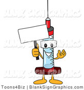 Vector Illustration of a Syringe Holding a Blank Sign and Waving by Toons4Biz