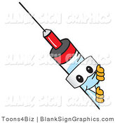 Vector Illustration of a Syringe Looking Around a Blank Sign by Toons4Biz
