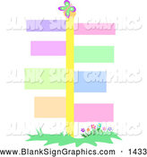 Vector Illustration of a Tall Yellow Crossroads Pole with Colorful Signs by
