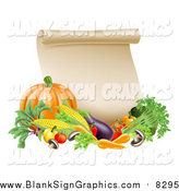 Vector Illustration of a Thanksgiving Scroll with Harvest Vegetables by AtStockIllustration