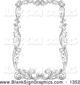 Vector Illustration of a Thick Black and White Leafy Scroll Border over White by Pauloribau