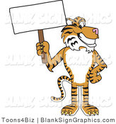 Vector Illustration of a Tiger Holding a Blank Sign by Toons4Biz