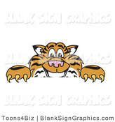 Vector Illustration of a Tiger Looking over a Blank Sign by Toons4Biz
