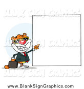 Vector Illustration of a Tiger Pointing to a Blank Sign by Hit Toon