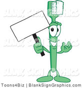 Vector Illustration of a Toothbrush Holding a Blank Sign by Toons4Biz