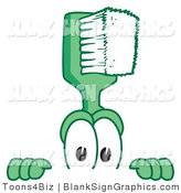 Vector Illustration of a Toothbrush Looking over a Blank Sign by Toons4Biz