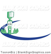Vector Illustration of a Toothbrush Mascot with a Blue Dash by Toons4Biz