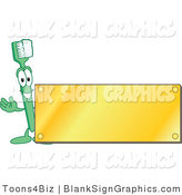 Vector Illustration of a Toothbrush with a Blank Gold Plaque by Toons4Biz